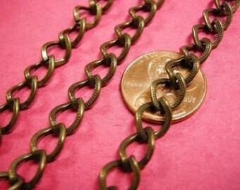 5 feet 9x7mm antique bronze graved Chain-2488