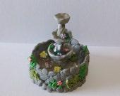 Dollhouse miniature garden Miniature Water Fountain Whimsical Beautiful Water Fountain terrarium  fish pond handmade for  garden Miniature