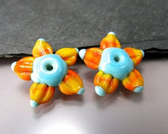 Handmade Lampwork Earring Beads by GlassBeadArt …  Southwest Flowers  ... SRA F12 ... 23x8mm