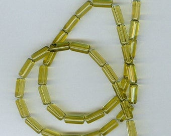4x10mm Olive Green Glass Tube Beads