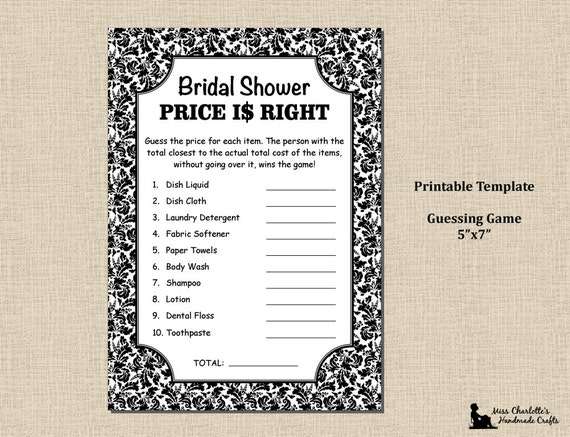 price is right bridal shower game template - fait main mariages invitations et papeterie mod les