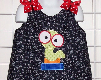 Bookworm Wearing Glasses with School Books Chalkboard A-line Dress - Back to School dress - first day of school dress - Pre-K -kindergarten
