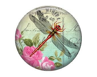 Spring Dragonfly - Glass Image Cabochon - Choice of 16mm, 18mm, 20mm, 25mm and 30mm Round