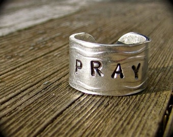 Wide Food Safe Aluminum Ring Cuff reminding us to Pray