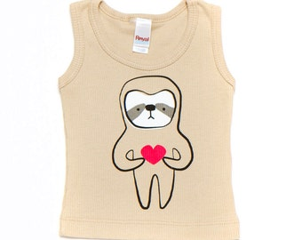 Champagne Sloth Love Tank 3-6m to 18-24m