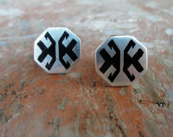 Aztec Cuff links Solid Sterling Silver with Black Enamel Cufflinks