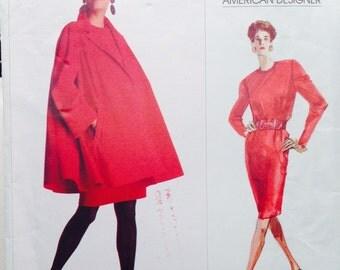 Vintage Vogue American Designer Sewing Pattern 80s Geoffrey Beene 2181 Swing Coat and Dress