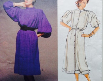 Vogue Designer Original Sewing Pattern Vintage 80s Jean Muir Petite Dress Loose Fitting A Line 36 Bust