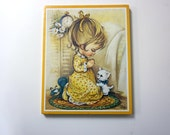PRAYING GIRL and her CAT . print by Coby . new in a pack on a cork board