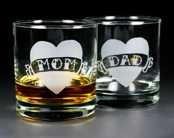 2 Tattoo Heart Lowball Glasses - Dad, Mom, Donuts, True, Love, Forever - custom banner text