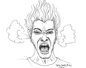 No.157 Fury / Original Artwork / Daily Doodle / Art Print / Comic / Anger / Angry