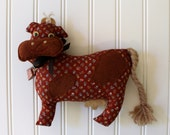 Cow Accent Pillow - Rust Calico with Tiny Cow Bell