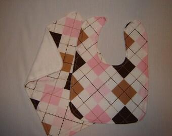 Pink and Brown Argyle Bib and Burp