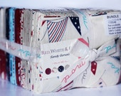 Red White and Free Fat Quarter Bundle by Sandy Gervais for Moda Fabrics