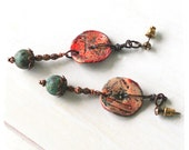 On Hold for Rhonda - Bohemian tribal clay disc earrings - Urban primitive red and sage drop earrings