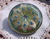 Blue Topaz Rhinestone Peacock Feathers Czech Glass Button
