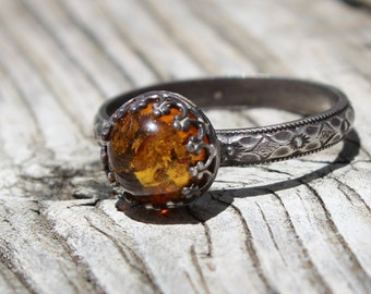 BALTIC AMBER RING sterling silver ring any size available