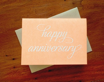Anniversary Pinstripe, single letterpress card