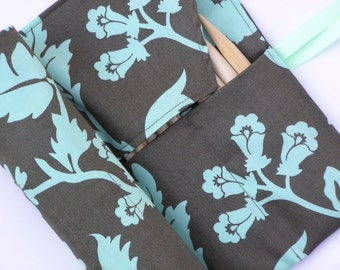 double pointed knitting needle case - organizer  - crochet hook - organizer - 14 pockets - mint floral print on greenish brown