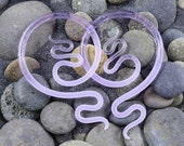 6G - 0G | Purple Rain Seaglass | River Moons Made to Order - Glassheart Body Jewelry Hanging Shapes - Handmade in Portland, Oregon.