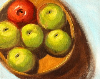 Original Still Life Oil Painting, Apples in a Basket, Green, Red Small 8x10 Canvas Fruit Decor, Kitchen Art, Colorful Design, Wall Decor