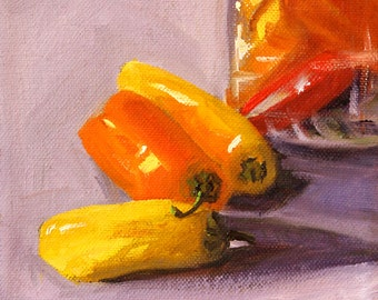 Southwestern, Still Life Oil Painting, Original 6x6 Canvas, Kitchen Wall Decor, Colorful Peppers, Red Yellow, Orange, Small Food Art