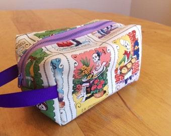 Loteria print makeup bag pencil case