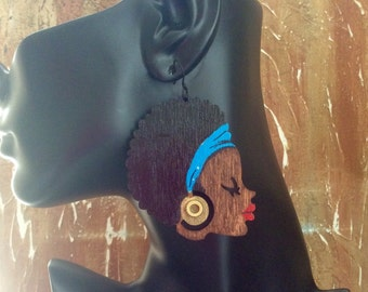 Wooden Afro Hair Earrings