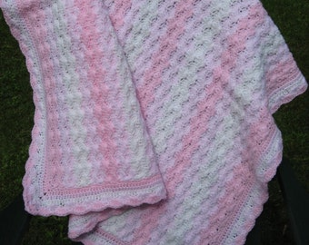 Pale Pink, Rose Pink and White Hand Crocheted Baby Afghan Blanket