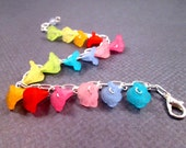 Flower Charm Bracelet, Rainbow Iris, Colorful and Silver Beaded Bracelet, FREE Shipping U.S.