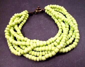 Bright Cuff Bracelet, Lemongrass Green Glass Seed Beads, Six Strand Brass Beaded Bracelet, FREE Shipping U.S.