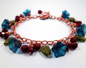 Flower Charm Bracelet, Blossoms and Berries, Red Blue Green and Copper Beaded Bracelet, FREE Shipping U.S.