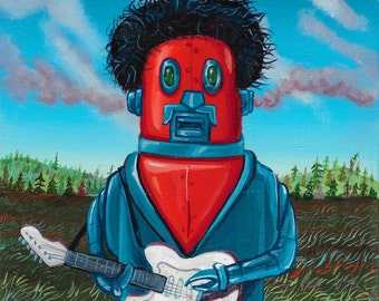 Original Robot Painting - Purple Haze - by Mr. Hooper of Nashville, Tennessee