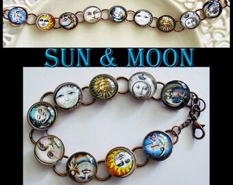 Sun & Moon, original art photo bracelet...ready to ship with gift box ...celestial, galaxy,lunar, stars, universe, moon bracelet