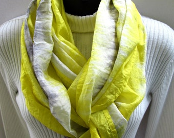 Infinity Scarf- Hand Dyed Silk Scarf for Women- Lemon Yellow and Silver Gray Shibori Dyed Fashion Scarf Unique Handmade Gift