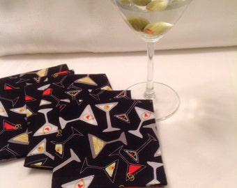 Martinis, Cocktails, Eco Friendly Cotton Cloth Cocktail Napkins Beverage Napkins Party Cocktail Napkins - set of 6 - Host or Hostess Gifts