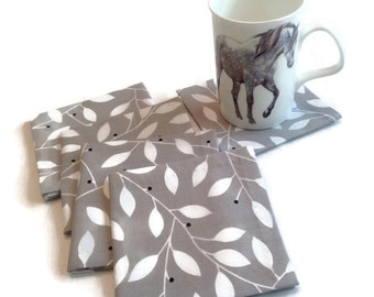 Grey and White Eco Friendly Cotton Cocktail Napkins Appetizer Napkins Beverage Napkins, Hand stitched - set of 8