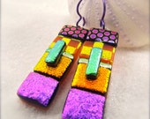Gypsy earrings, rainbow earrings, dichroic earrings, dichroic, statement earrings, women's handmade, freshly picked, treading now, boho