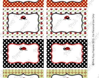 Printable Red Ladybug Birthday Party Food Labels - Instant Download