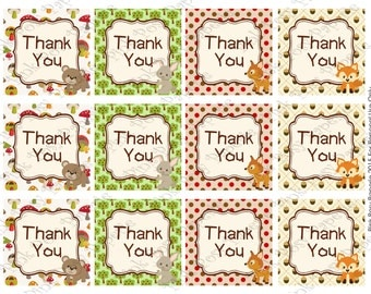 Printable Woodland Animals Thank You Tags - Instant Download