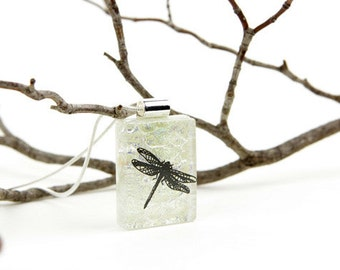 Dragonfly Pendant- Dragonfly Necklace- Dichroic Fused Glass Pendant - Fused Glass Jewelry - Fused Dichroic Necklace - Dichroic Jewelry