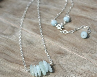 Gemstone Spike Bar Necklace - Aquamarine, Stacked Spikes, Blue, Sterling Silver, Layering Necklace