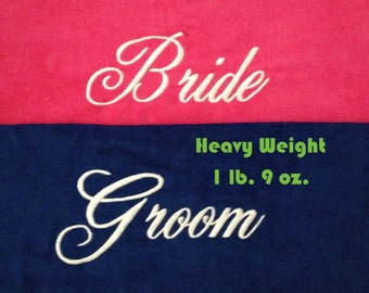 BRIDE & GROOM Beach Towels with Tote Bag THICK Embroidered 100% Cotton Terry Velour with Date and Personalized Bag - Made To Order