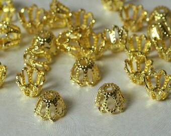 Gold plated bead cap 6mm, 48 pcs (item ID XMXH00813GP)