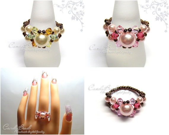 Swarovski Pearl ring, Rosy Pink and Cream Peach Swarovski Pearl Ring by CandyBead (R006-03)