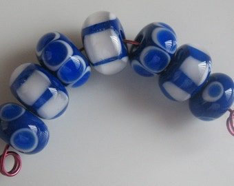 Handmade glass beads-lampwork beads-loose beads-set of seven lampwork beads-SRA