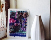 wooded bliss TAPESTRY WEAVING ARTCARD -- 1 - 5x7 inch woven card ready to ship, wall art, shelf art, weaving, fiberart, mixedmedia, tapest