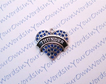 Custom Personalized Thunder Charm or Any Youth Sports Team Name Crystal Antique Silver Heart Customized Pendant