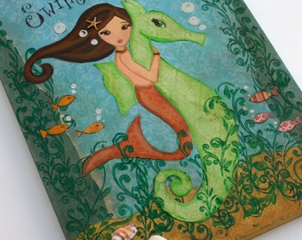 Mermaid Art - Original Art -Mixed Media Painting- Mermaid Decor- 11x14