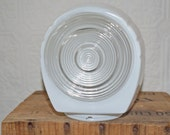 Art Deco White Clear Ringed Glass vanity  Light Shade Convex Center